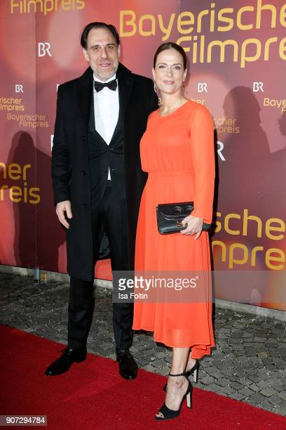 German actor Thomas Loibl and German actress Claudia Michelsen attend the Bayerischer Filmpreis 2017 at Prinzregententheater on January 21, 2018 in...