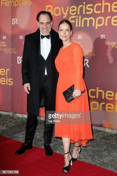 German actor Thomas Loibl and German actress Claudia Michelsen attend the Bayerischer Filmpreis 2017 at Prinzregententheater on January 21 2018 in...