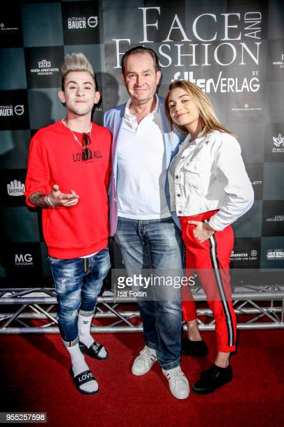 German actor Thomas W Watter German singer Daniele Negroni and his girlfriend influencer Tina Neumann during the Face Fashion Gala at St Emmeram...