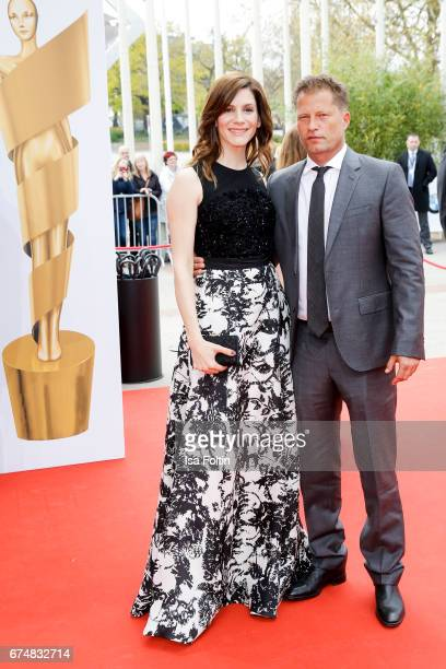 German actor Til Schweiger and Christina Hecke during the Lola German Film Award red carpet arrivals at Messe Berlin on April 28 2017 in Berlin...