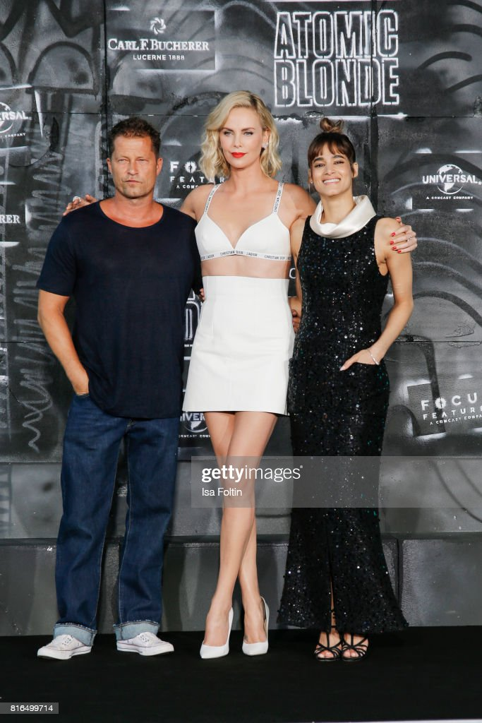German actor Til Schweiger, US actress Charlize Theron and US actress Sofia Boutella attend the 'Atomic Blonde' World Premiere at Stage Theater on July 17, 2017 in Berlin, Germany.