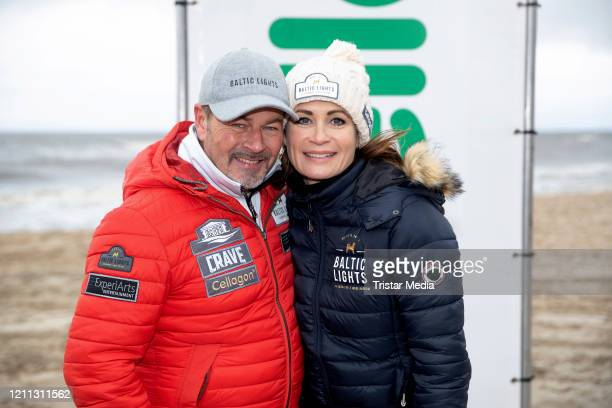 """German actor Till Demtroeder and German actress Gerit Kling participate in the sled dog race as part of the """"Baltic Lights"""" charity event on March 7,..."""