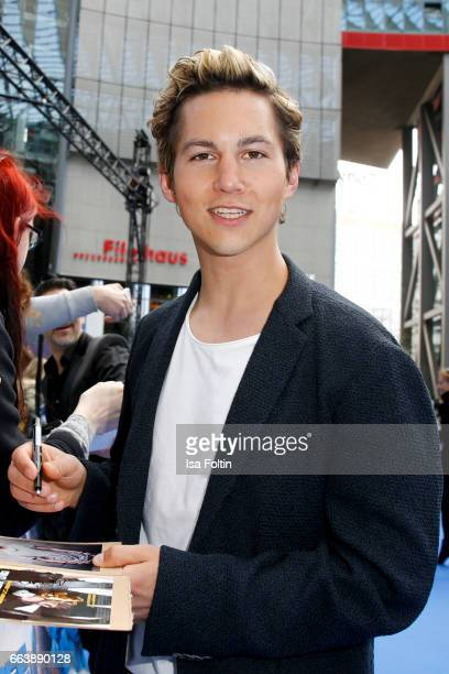 German actor Tim Oliver Schultz during the 'Die Schluempfe Das verlorene Dorf' premiere at Sony Centre on April 2 2017 in Berlin Germany