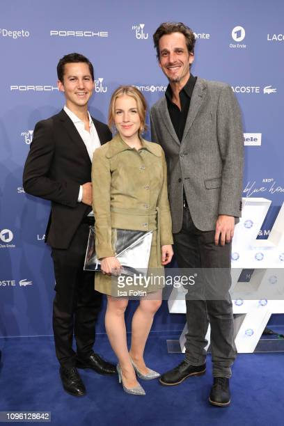 German actor Tim Oliver Schultz German actress Paula Kalenberg and Austrian actor Max von Thun attend the Blue Hour Party hosted by ARD during the...