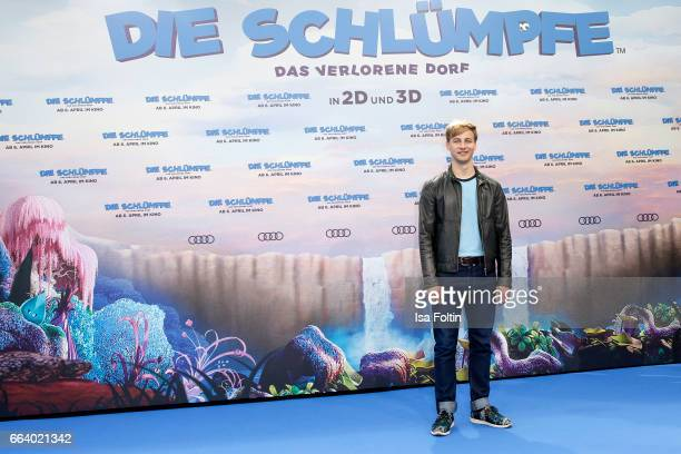 German actor Timmi Trinks during the 'Die Schluempfe Das verlorene Dorf' premiere at Sony Centre on April 2 2017 in Berlin Germany