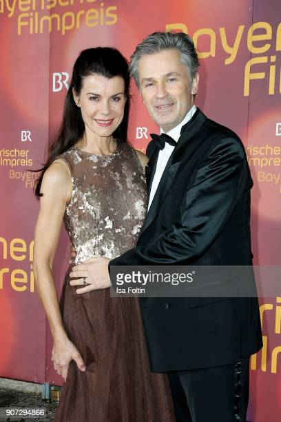 German actor Timothy Peach and his wife Nicola Tiggeler attend the Bayerischer Filmpreis 2018 at Prinzregententheater on January 21 2018 in Munich...