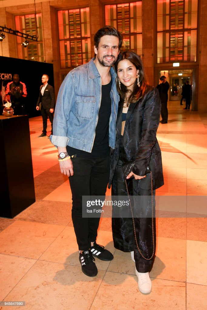 German actor Tom Beck and German actress Chryssanthi Kavazi during the Echo Award after show party at Palais am Funkturm on April 12, 2018 in Berlin, Germany.