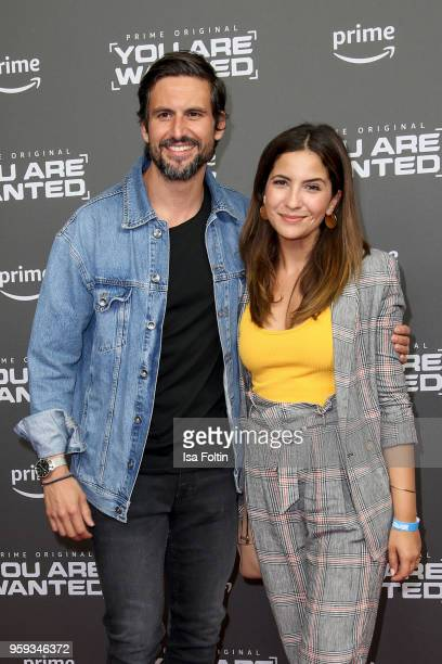 German actor Tom Beck and his girlfriend German actress Chryssanthi Kavazi attend the premiere of the second season of 'You are wanted' at...