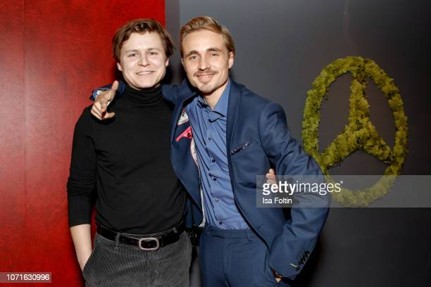 German actor Tom Boettcher and German actor Constantin von Jascheroff during the event 'FechtOlympiasiegerin fliegt mit Daimler Kunstflugass Revanche...