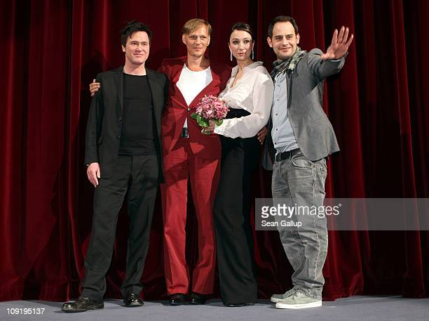 German actor Uwe Bohm, Austrian actor Georg Friedrich, Austrian actress Ursula Strauss and German actor Moritz Bleibtreu pose on stage at the end of...