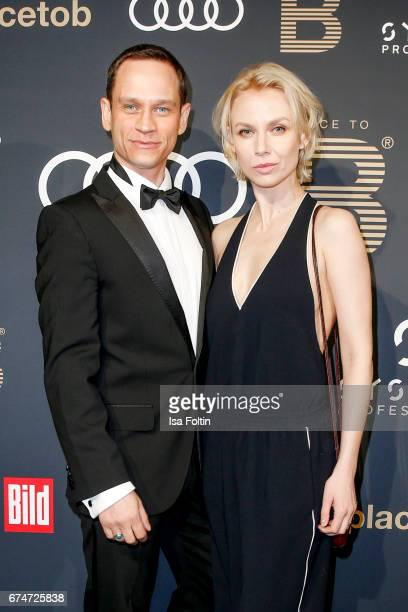 German actor Vinzenz Kiefer and his partner Masha Tokareva attend the Place To Be Party after the Lola - German Film Award on April 28, 2017 in...
