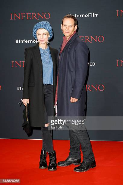 German actor Vinzenz Kiefer and his wife Masha Tokareva attend the German premiere of the film 'INFERNO' at Sony Centre on October 10 2016 in Berlin...