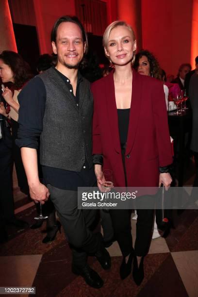 German actor Vinzenz Kiefer and Masha Tokareva during the BUNTE BMW Festival Night at Italienische Botschaft on February 21 2020 in Berlin Germany
