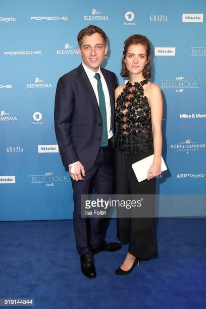 German actor Volker Bruch and German actress Liv Lisa Fries attend the Blue Hour Reception hosted by ARD during the 68th Berlinale International Film...