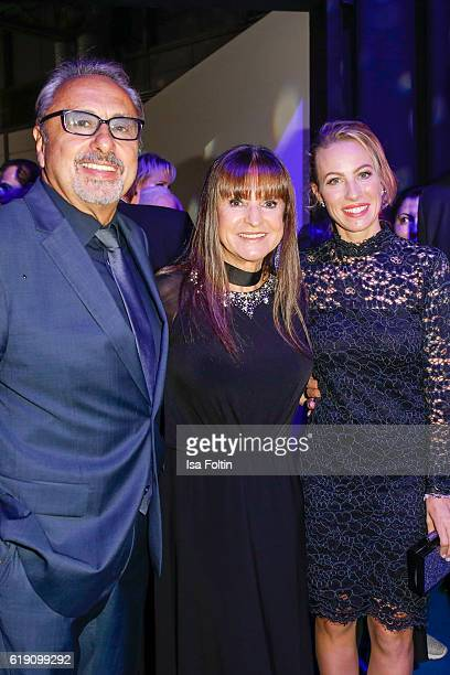 German actor Wolfgang Stumph with his wife Christine Stumph and Ayleena Jung during the aftershow party at the Goldene Henne on October 28 2016 in...