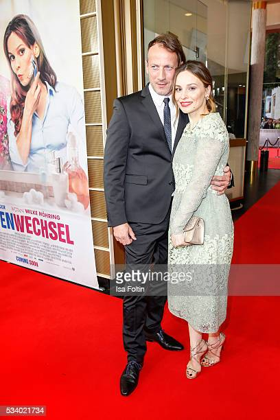 German actor Wotan Wilke Moehring and german actress Mina Tander attend the premiere of the film 'Seitenwechsel' at Zoo Palast on May 24 2016 in...
