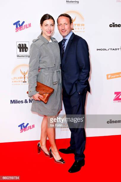 German actor Wotan Wilke Moehring and his girlfriend Cosima Lohse attend the Jupiter Award at Cafe Moskau on March 29, 2017 in Berlin, Germany.