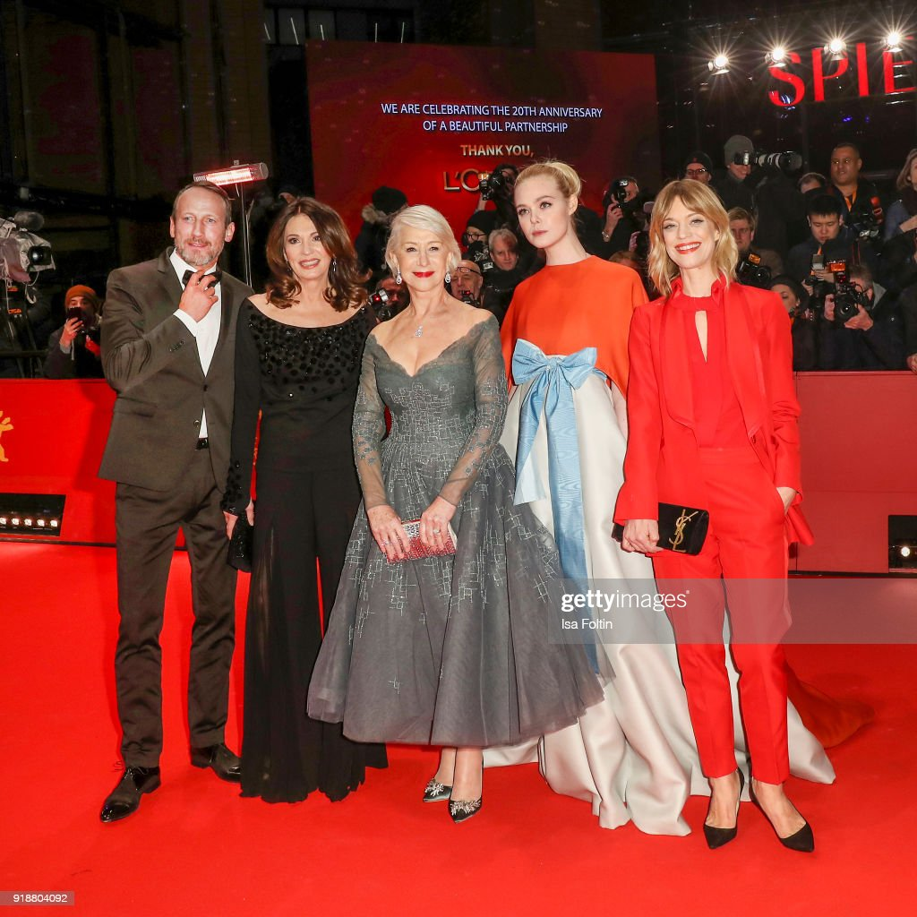 German actor Wotan Wilke Moehring, German actress Iris Berben, British actress Helen Mirren, US actress Elle Fanning and German actress Heike Makatsch attend the Opening Ceremony & 'Isle of Dogs' premiere during the 68th Berlinale International Film Festival Berlin at Berlinale Palace on February 15, 2018 in Berlin, Germany.