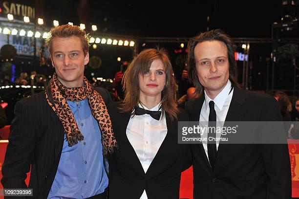 German actors Alexander Fehling Lena Lauzemis and August Diehl attend the 'Wer Wenn Nicht Wir' Premiere during day eight of the 61st Berlin...