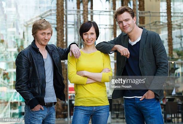 German actors Benjamin Kramme Alina Levshin and Friedrich Muecke pose for the camera after being announced as the new Thueringen Tatort crew on July...