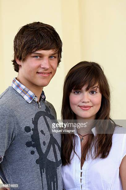 German actors Daniel Axt and Emilia Schuele pose during a photo call on August 19 2009 in Passau Germany The movie 'Rock It' will start in German...