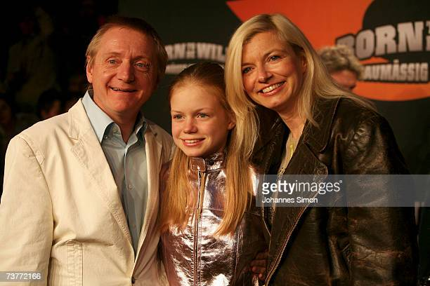 German actors Michaela Merten husband Pierre Franckh and common daughter Julia attend the German film premiere of Born to be wild saumaessig...