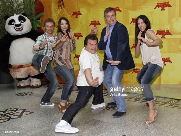 German actors Ralf Schmitz and Cosma Shiva Hagen US Actor Jack Black German actors Hape Kerkeling and Bettina Zimmermann attend the 'Kung Fu Panda 2'...