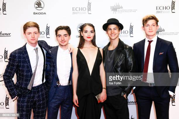 German actors Timur Bartels Ivo Kortlang Luise Befort Tim Oliver Schultz and Damian Hardung during the Echo award red carpet on April 6 2017 in...