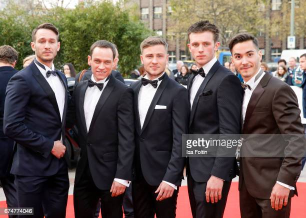 German actors Vladimir Burlakov Vinzenz Kiefer Jannis Niewoehner Jannik Schuemann and Francois Goeske during the Lola German Film Award red carpet...