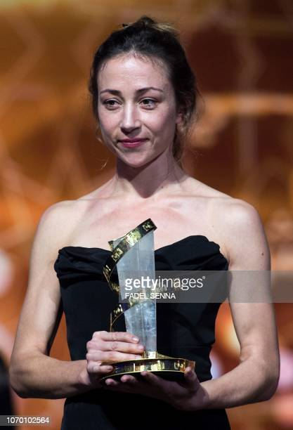 German actress Aenne Schwarz poses with her award for best performance during the closing ceremony of the 17th Marrakech International Film Festival...