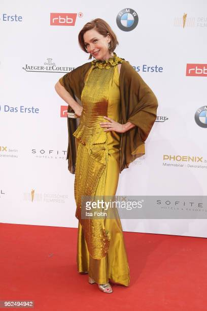German actress Aglaia Szyszkowitz attends the Lola German Film Award red carpet at Messe Berlin on April 27 2018 in Berlin Germany