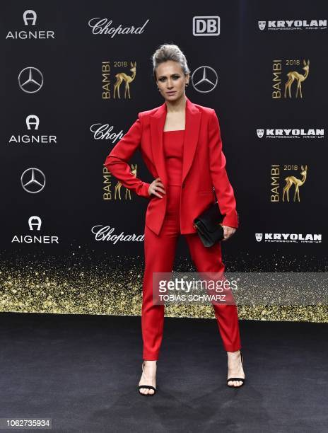 German actress Alina Levshin poses during the award ceremony of the Bambi media prize on November 16 2018 at the Stage Theatre in Berlin