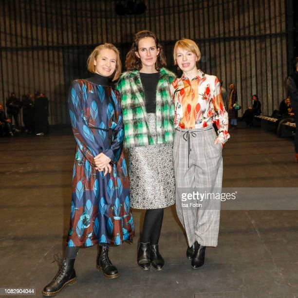 German actress Alina Levshin German actress Saralisa Volm and German actress Anna Brueggemann attend the Odeeh Defile during the Berlin Fashion Week...