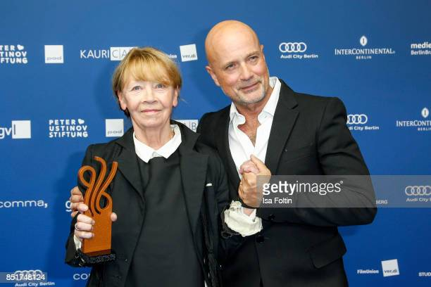 German actress and award winner Jutta Hoffmann with Christian Berkel during the 6th German Actor Award Ceremony at Zoo Palast on September 22, 2017...