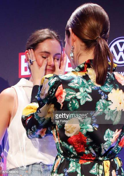 German actress and award winner Lea van Acken with German actress Emilia Schuele during the New Faces Award Style 2017 at The Grand on November 15...