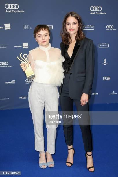 "German actress and award winner Lena Urzendowsky and German actress Luise Befort at the award ceremony of the ""Deutscher Schauspielpreis"" at Zoo..."