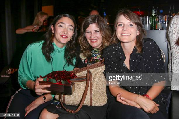 German actress and award winner Mia Spengler German actress Tini Tuellmann and German actress Helena Hufnagel attend the New Faces Award Film at...
