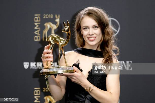 German actress and award winner Paula Beer wearing Chanel poses with award during the 70th Bambi Awards winners board at Stage Theater on November 16...