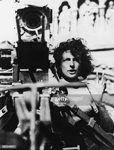 German actress and director Leni Riefenstahl on the set of the film 'Tiefland' 1944