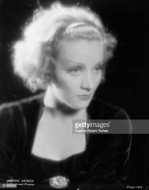 German actress and 'love goddess', Marlene Dietrich .
