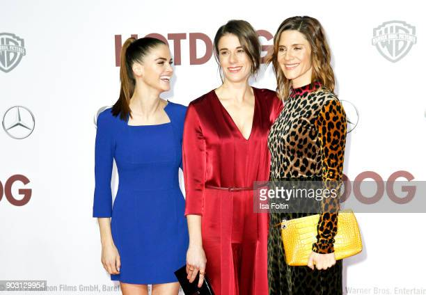 German actress and model Lisa Tomaschewsky German actress Anne Schaefer and German actress Christina Hecke attend the 'Hot Dog' world premiere at...