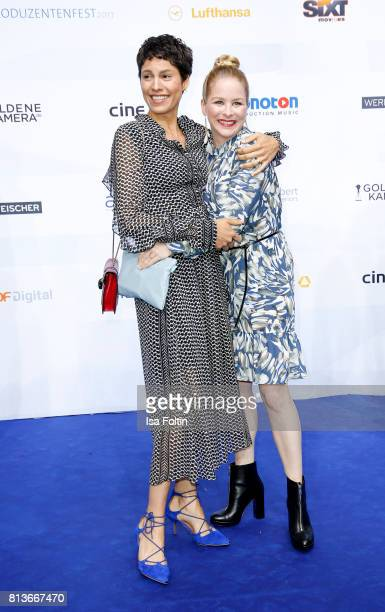 German actress and presenter Jasmin Gerat and German actress Jasmin Schwiers attend the summer party 2017 of the German Producers Alliance on July 12...