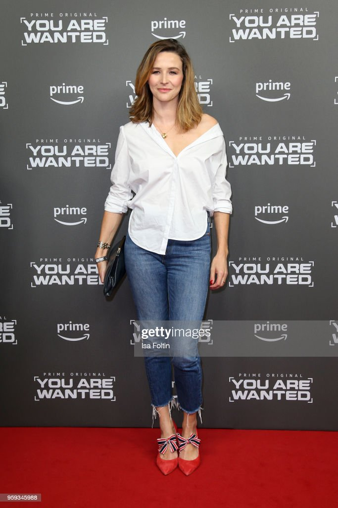 German actress and presenter Katrin Bauerfeind attends the premiere of the second season of 'You are wanted' at Filmtheater am Friedrichshain on May 16, 2018 in Berlin, Germany.