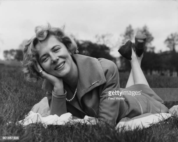 German actress and singer Cornell Borchers relaxes on Primrose Hill London during a break in the location filming of BBC Television drama 'Call Me A...