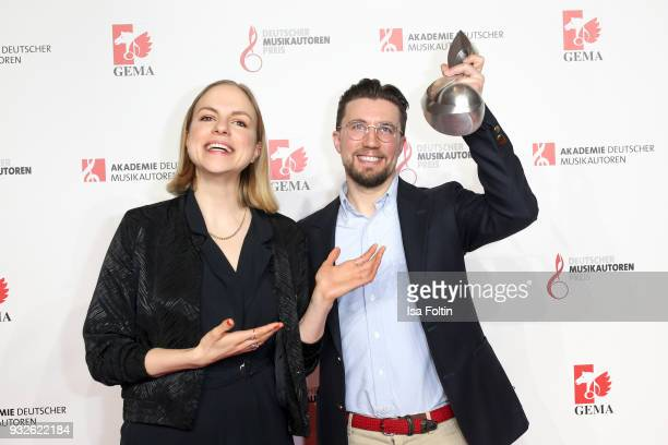 German actress and singer Julia Engelmann and award winner Friedrich Kautz alias Prince PI during the German musical authors award on March 15 2018...