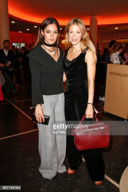 German actress and video blogger Nilam Farooq and German actress Nina Gnaedig during the 6th German Actor Award Ceremony at Zoo Palast on September...