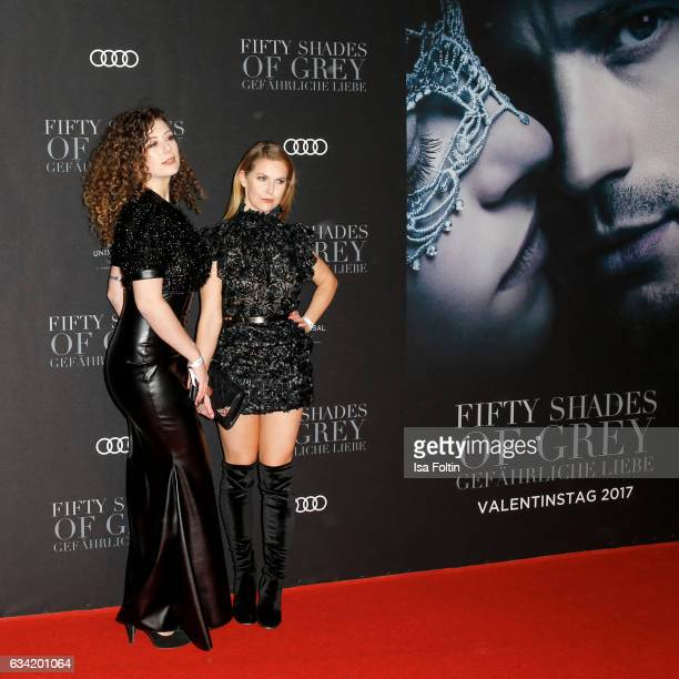 German actress and youtuber Leila Lowfire and Ines Anioli attend the European premiere of 'Fifty Shades Darker' at Cinemaxx on February 7 2017 in...