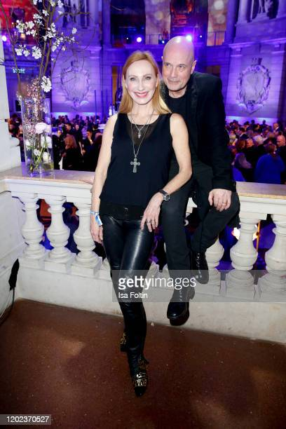 German actress Andrea Sawatzki and her husband German actor Christian Berkel attend the Blue Hour Party hosted by ARD during the 70th Berlinale...