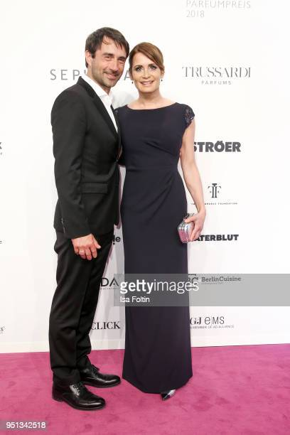 German actress Anja Kling and her partner Oliver Haas during the Duftstars at Flughafen Tempelhof on April 25 2018 in Berlin Germany