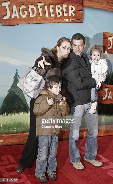 German actress Anja Kling her boyfried Jens and the children Tano and Alea attend the German premiere of the film Open Season on November 5 2006 at...